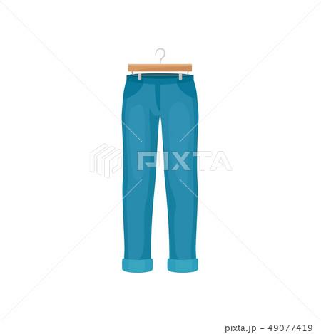 Cartoon blue pants on clothes hanger. Fashion concept. 49077419