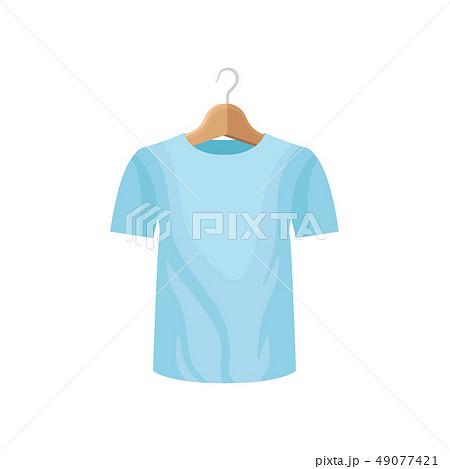 Cartoon blue tee shirt on clothes hanger. 49077421