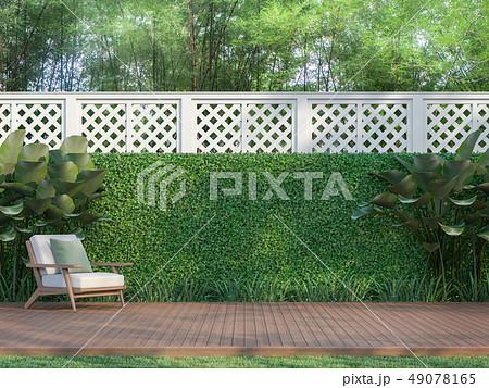 Outdoor wood terrace in the garden 3d render 49078165