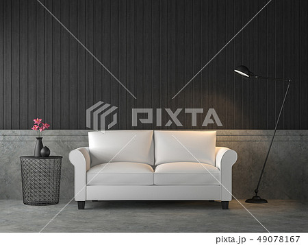 Loft style living room with white sofa 3d render 49078167