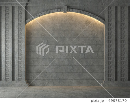 Empty Ancient wall with concrete arch 3d render 49078170