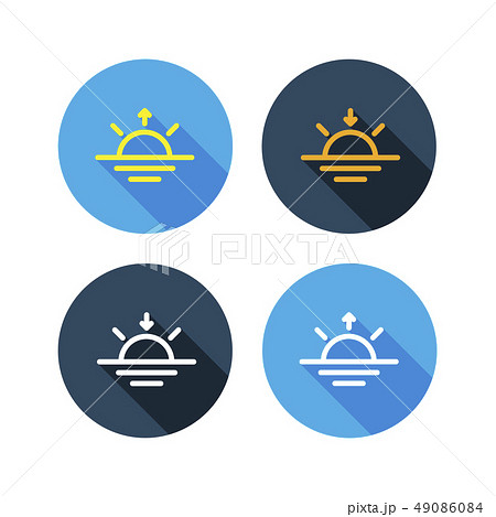 Light and dark weather flat icon set long shadow 49086084