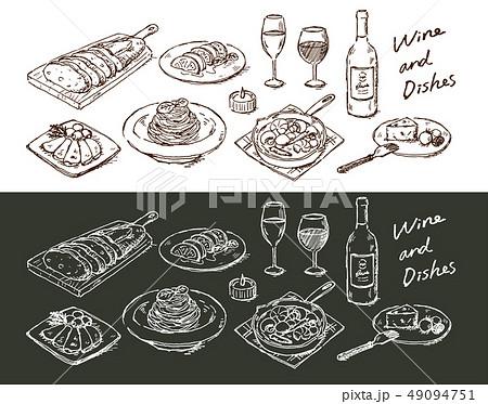 ワインと合う料理手描き 49094751