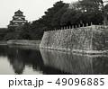 日本の城 広島城 モノクロ 49096885