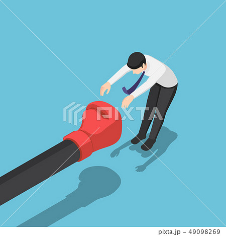Isometric businessman being punched by giant hand 49098269