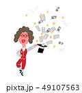 マジックで帽子からお金を出す女性 49107563