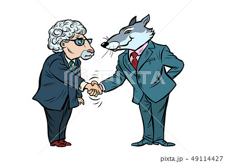 wolf and sheep business negotiations, friendship isolate on white background 49114427