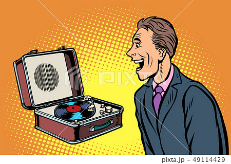 happy man listening to music. retro vinyl record player 49114429
