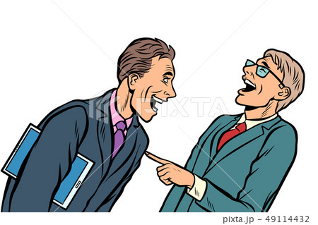 two businessmen meeting laughing isolate on white background 49114432