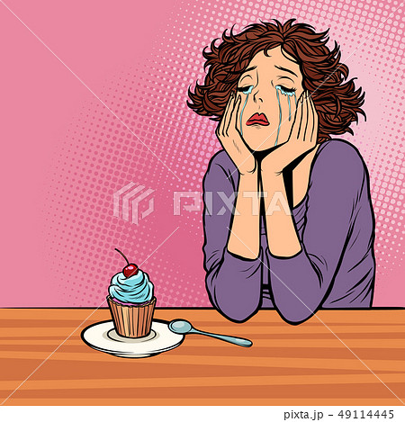 lonely unhappy woman. cupcake dessert 49114445