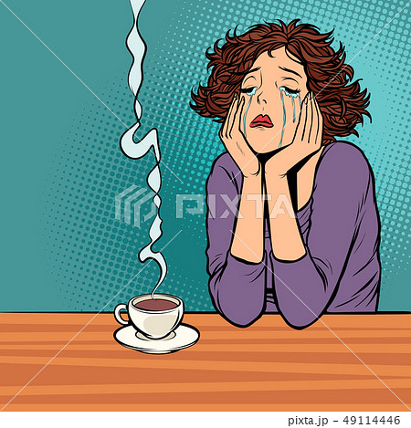 lonely unhappy woman. Cup of hot coffee 49114446