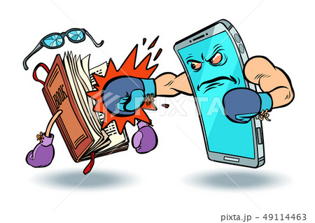 smartphone against book. enmity of technology and culture concept 49114463