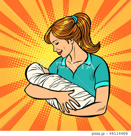 mother with newborn, woman and child 49114469
