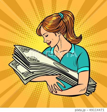 woman loves money. Bank lottery win 49114471