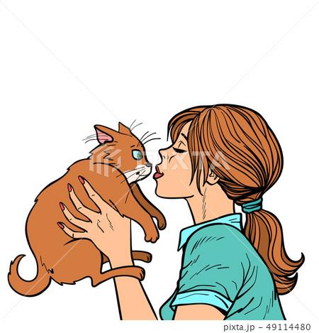 woman kisses a cat 49114480