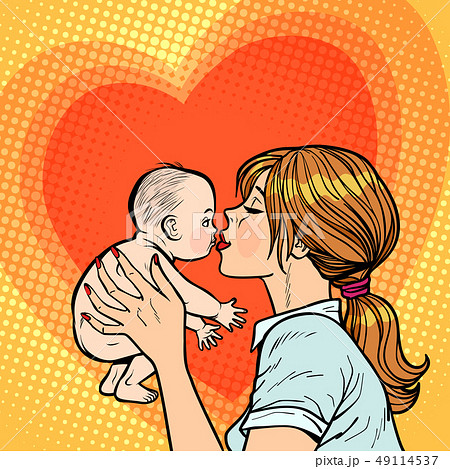 mom kisses baby, woman mother 49114537