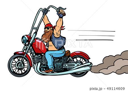 biker on chopper, motorcycle transport 49114609