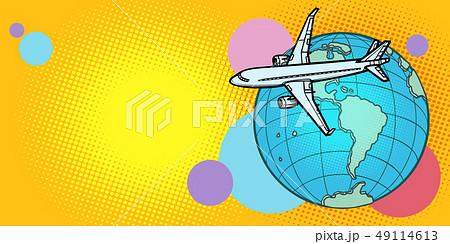 plane flies over globe America passenger aviation 49114613