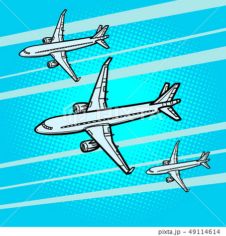 several passenger Airliners aircraft air transport 49114614