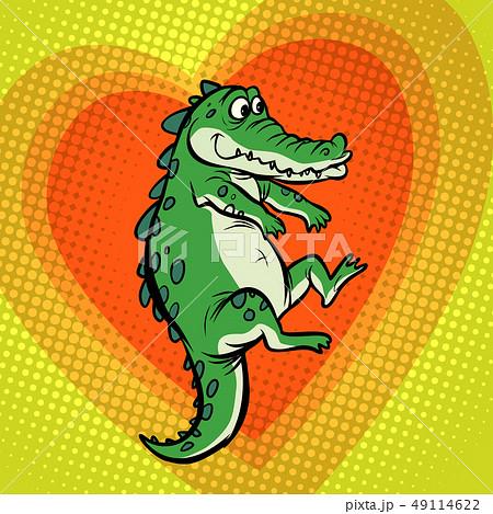 crocodile character, cute heart love 49114622