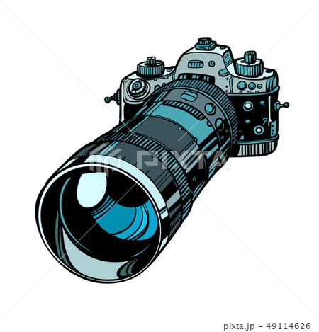 camera with telephoto lens isolate on white background 49114626