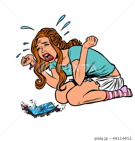 girl and broken phone, crying screaming 49114652