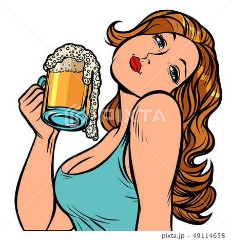 Woman with a mug of beer in profile. Isolate on white background 49114658