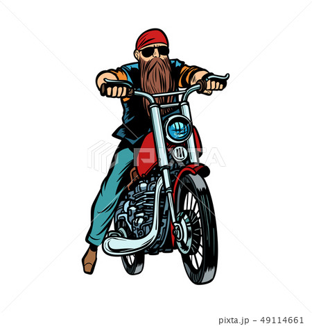Biker bearded man on a motorcycle isolate on white background 49114661