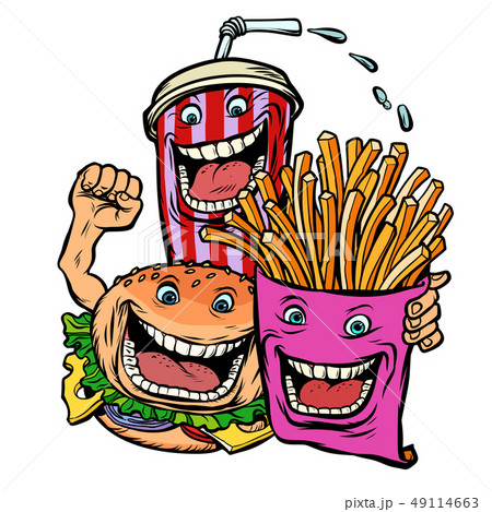 Burger Cola drink fries potatoes. fast food characters friends lunch 49114663