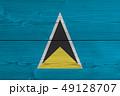 Saint Lucia flag painted on old wood plank 49128707