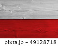 Poland flag painted on old wood plank 49128718