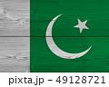 Pakistan flag painted on old wood plank 49128721