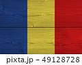 Romania flag painted on old wood plank 49128728