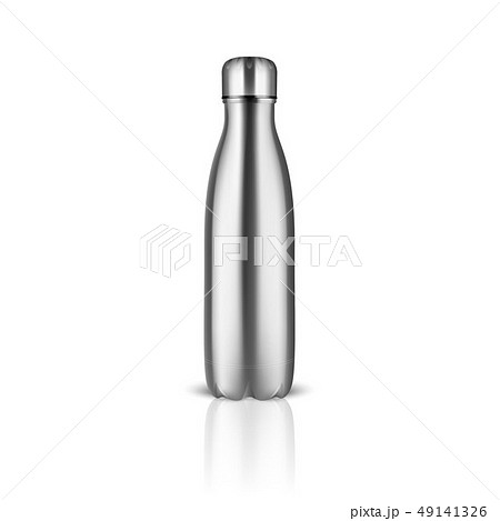 Vector Realistic 3d Silver Empty Glossy Metal Reusable Water Bottle with Silver Bung Closeup on 49141326