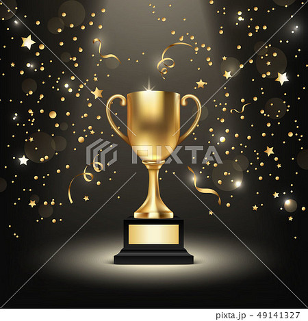 Background with Realistic Vector 3d Blank Golden Shiny Champion Cup. Championship Trophy. Sport 49141327