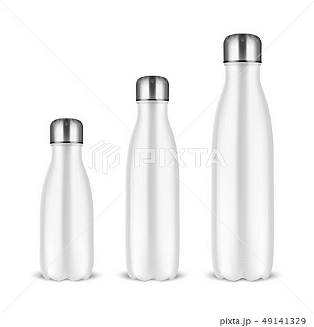 Vector Realistic 3d White Empty Glossy Metal Reusable Water Bottle Set with Silver Bung Closeup on 49141329