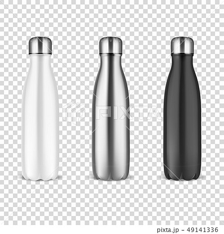 Vector Realistic 3d White, Silver and Black Empty Glossy Metal Reusable Water Bottle with Silver 49141336