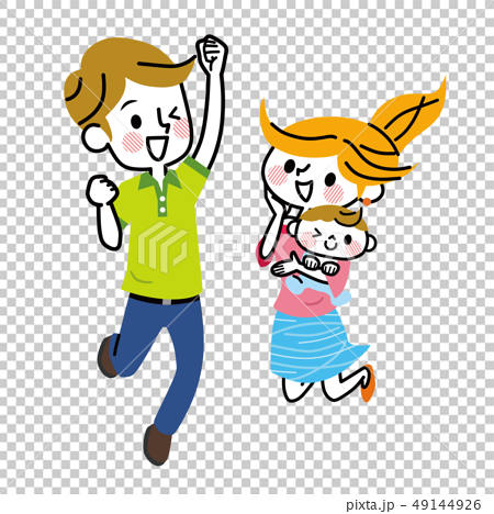 Family couple baby jumping 49144926