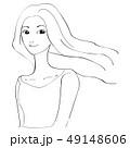 美容 ロングヘアをなびかせる女性 カメラ目線 黒い線画 49148606