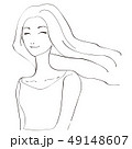 美容 ロングヘアをなびかせる女性 にっこり笑顔 黒い線画 49148607