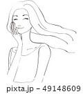 美容 ロングヘアをなびかせる女性 顔を触ってにっこり 黒い線画 49148609