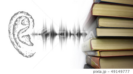 Stack of multicolored books and sound audio wave to human ear. Listen audiobooks online education 49149777