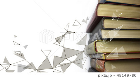 Stack of multicolored books. Old textbooks stacked on each other. Online education technology 49149780