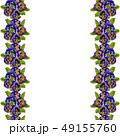 Seamless frame with purple pansy flowers and green 49155760