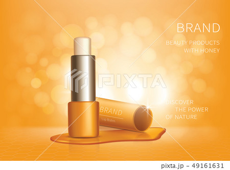 Cosmetic realistic vector lip balm ad background 49161631