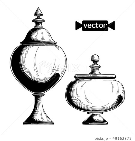 Candy jar, sugar bowl. Realistic sketch. Vector 49162375