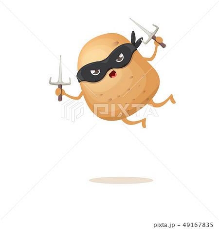 vector cartoon ninja potato character with black super hero mask and ninja knife sai isolated on 49167835