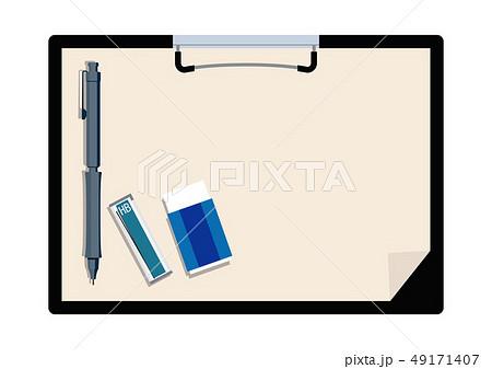 文房具のイラスト。 クリップボード。 筆記用具とメモ帳のイメージ。 49171407