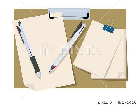 文房具のイラスト。 クリップボード。 筆記用具とメモ帳のイメージ。 49171416