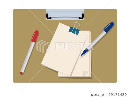 文房具のイラスト。 クリップボード。 筆記用具とメモ帳のイメージ。 49171420